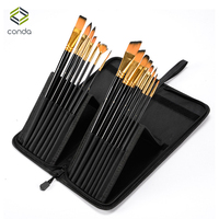 CONDA Art 15Pcs Paint Brush Set With Carrying Black Case For Watercolor Brush Oil Acrylic Drawing