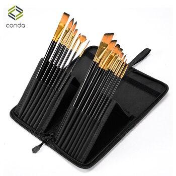 CONDA Art 15 Pcs Paint Brush Set Com Bolsa de Transporte Caixa Preta para Pincel de Aquarela Óleo Acrílico Desenho Pintura Nylon Cabelo
