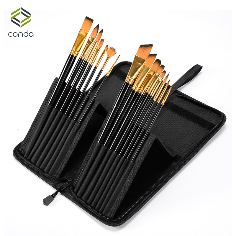 CONDA Art 15Pcs Paint Brush Set With Carrying Black Case for Watercolor Brush Oil Acrylic Drawing Painting Nylon Hair 16 holes portable professional oil painting brush watercolor brush case knife paper pen case drawing set acrylic set bag only