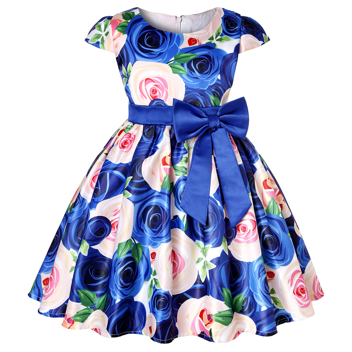 Baby Girls Dress Elegant Blooming Rose Flower Garden Cotton 2019 Christmas Halloween Princess Wedding Party Costume Kids Dresses