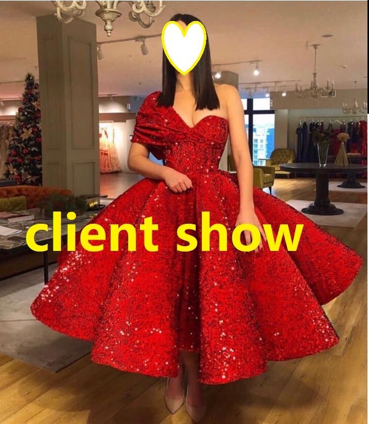 Image 5 - VARBOO_ELSA One Shoulder Sexy Arabic Kaftan Dubai Red Gliter Ball Gown Formal Evening Prom Party Gown Dress Elegant DressesEvening Dresses   -
