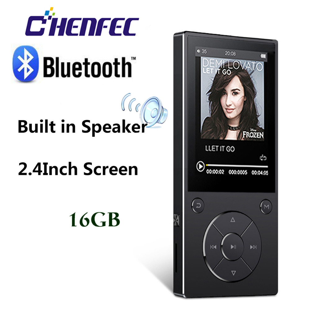 Portable MP4 Player With Speaker 16GB Bluetooth 4.0 Hifi 2.4 Screen Music Player With FM Radio, Recording,TF Card Up To 128G