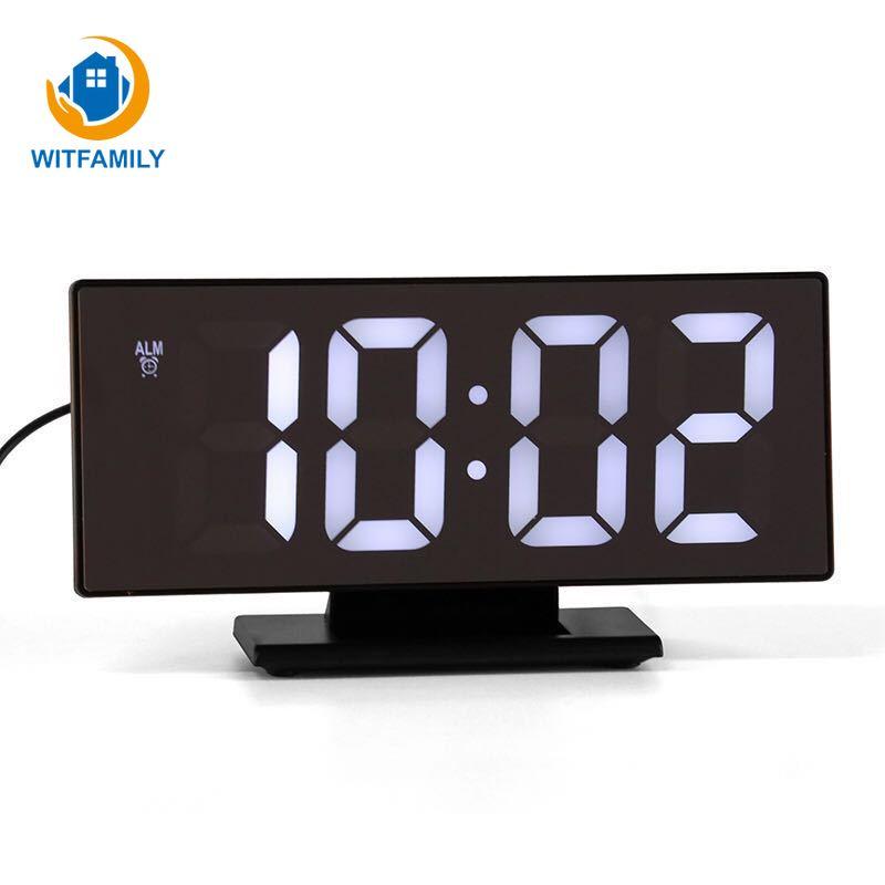 Uhren Wecker Gutherzig Moderne Led Display Spiegel Uhr Zeit Tisch Uhr Upgrate Digitale Wecker Multifunktions Snooze Desktop Reloj Despertador Attraktive Mode