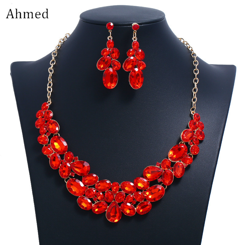 Ahmed Red Black Blue Crystal Water Drop Geometric Necklaces Pendants Statement Necklace Earrings Wedding Jewelry Set