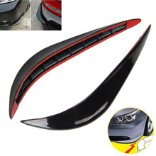 2 Pcs Black Soft Rubber Car Front Bumper Anti-Collision Protection Strips Decal
