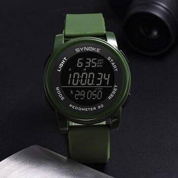 5c3a8e4a0cbc SYNOKE hombres relojes 3D podómetro hombre deportes al aire libre Digital  WatchWaterproof alarma muñeca doble de tiempo de 12 24 horas reloj  electrónico