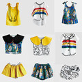 PRÉ VENDA INS 2017 Primavera meninas vestidos do verão t camisas saias qualidade varredura de impressão conjuntos de roupas de bebê menino roupa dos miúdos MENINOS