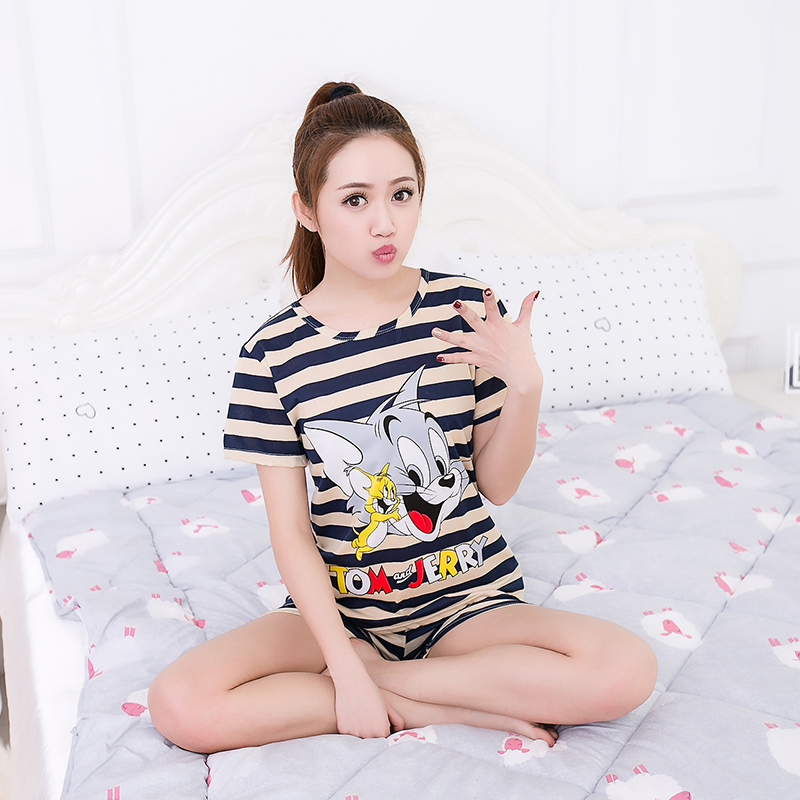 b25d95c1e2 Women Pajamas Sets Hot Summer Short Sleeve Thin Cotton Cartoon Print Cute  Loose Sleepwear Girl pijamas Mujer Nightgown For Women   BestDealPlus