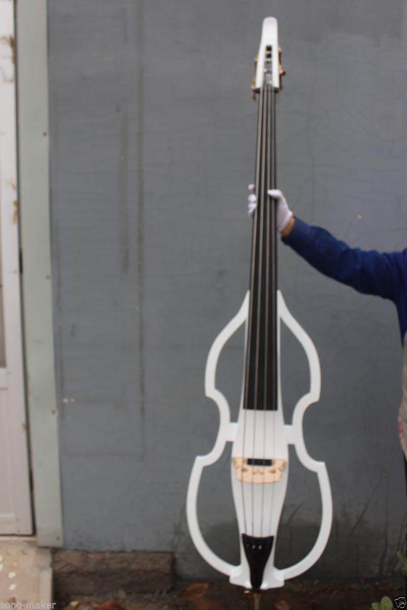 Electric Upright Double Bass   4  string  white   3/4 new    Finish silent Powerful Sound 001203# 3 4 upright double bass high quality powerful sound solid wood 5 string