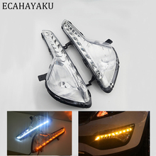 ECAHAYAKU car styling For KIA Sportage 2011~2014 LED DRL Daytime Running Lights Daylight Waterproof Fog Head Lamp free shipping free shipping iphcar waterproof dual color special outside led daytime running lights for 2013 cr v