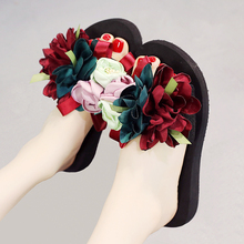 6 Heel Height Handmade Women Sandals Big Flower Beach Shoes Wedges Summer Slides Plus Size 35-41 Women Slippers rhinestone high heel sandals plus size 40 41 summer blue flower sexy leather diamond slippers female rome slides shoes women