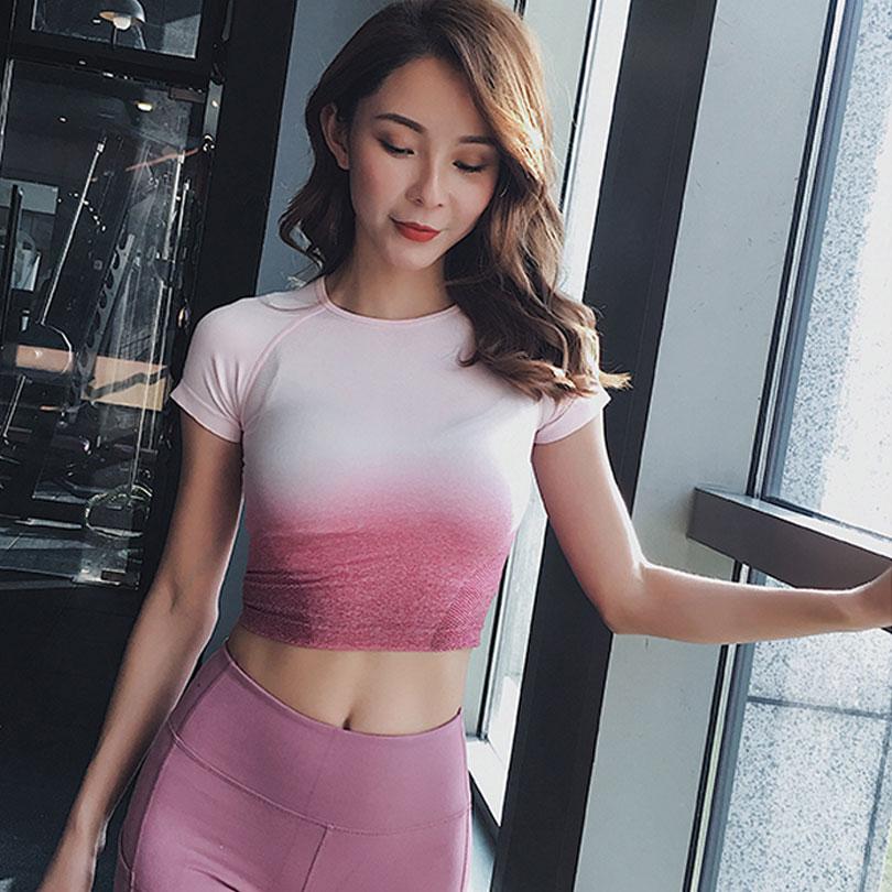 Yoga Tops Seamless Yoga Shirts Short Sleeve Crop Top Women Sport Shirt Women Sports Tops Gym Women Seamless Top Gym Tshirt Women