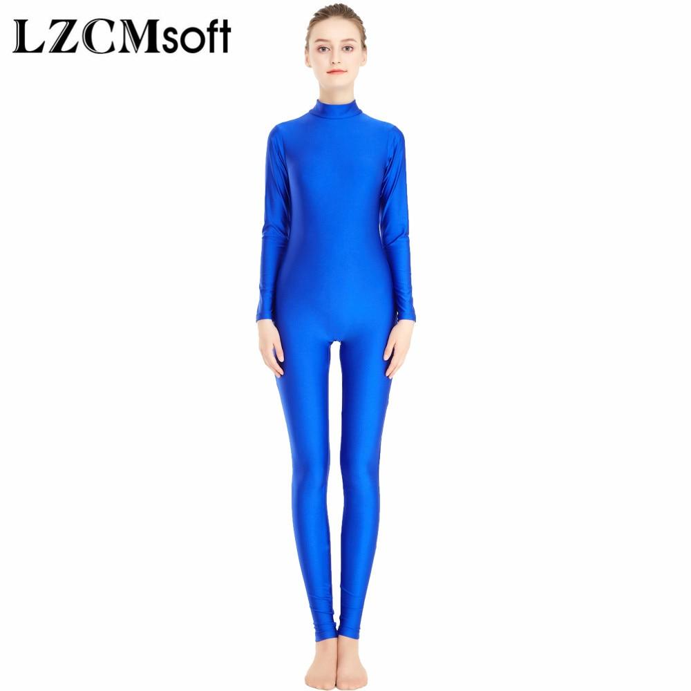 LZCMsoft Woman High Neck Unitards Long Sleeve Ballet Dance Gymnastics Unitards One Piece Lycra Bodysuits Dancewear