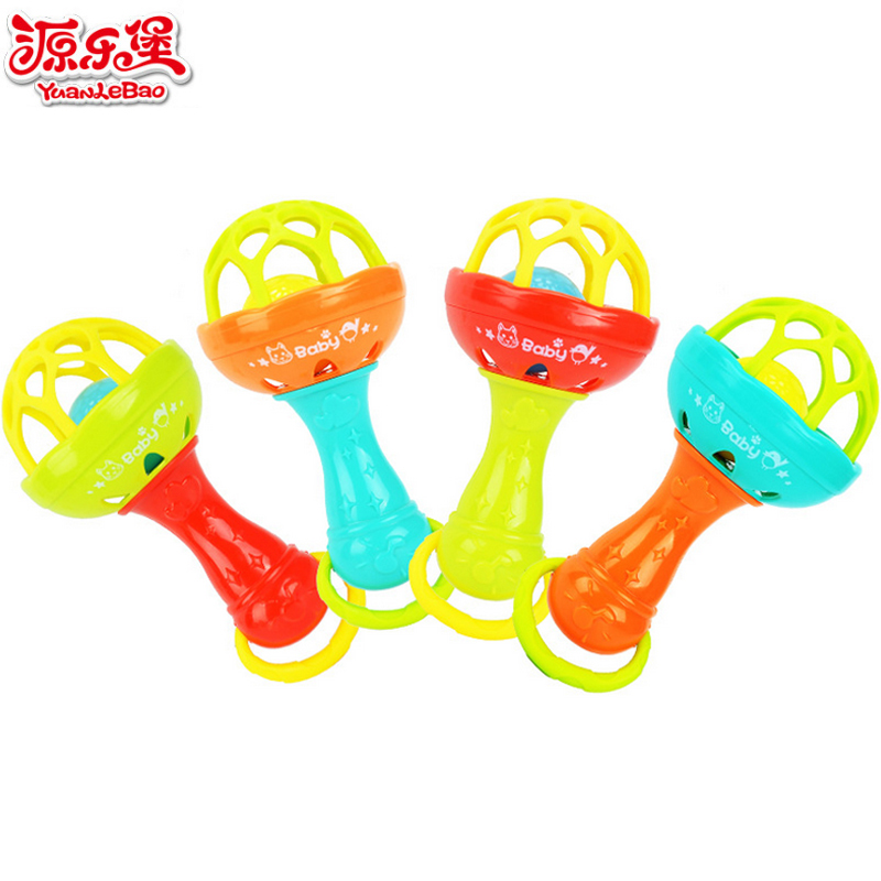 Yuanlebao 1pcs Baby Rattles Intelligence Grasping Gums Plastic Hand Bell Rattle Educational Mobiles Musical Toys Christmas Gift
