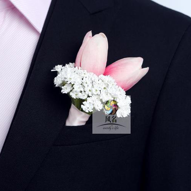 5pcs Lot Artificial Pink Tulip Flower Corsage Wedding Supplies Groom Groomsmen Boutonniere Prom Party Onhole