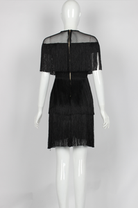 Image 5 - fringe dress vintage elegant sexy party club wear beach mesh tight streetwear sundress runway  women summer dress 2019 tassel