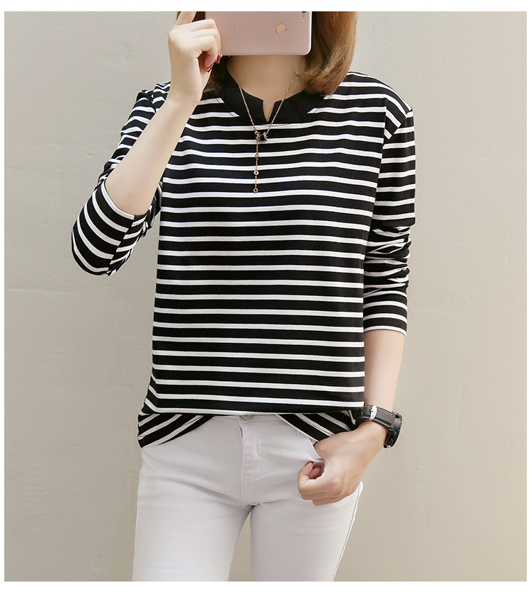 NFIVE Brand 2017 Women's Stripe Loose T-shirts Korean Autumn New Long Sleeved Large Size Shirt Quality Fashion Cotton T-shirt 12