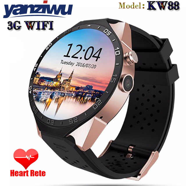 НОВЫЕ Bluetooth 4.0 Smart Watch KW88 MTK6580 1.39 дюймов Android 5.1 Smartwatch 3 Г Heart Rate Monitor Quad Core 512 МБ RAM 4 ГБ ROM