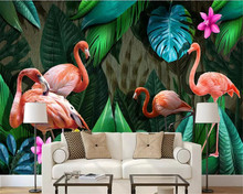beibehang 3d wallpaper papel de parede Childrens room custom hand-painted tropical plants flamingo Nordic