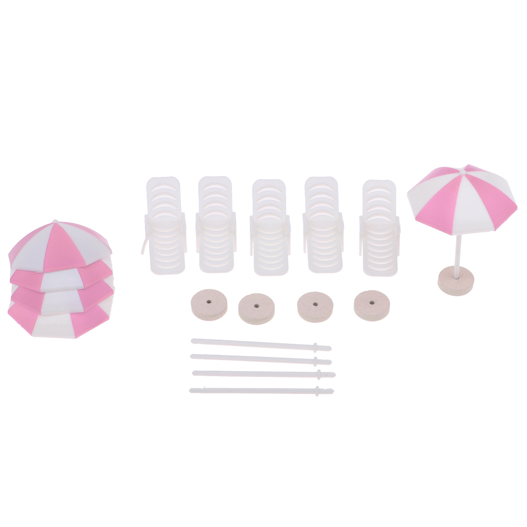 5 Set Mini Deck Chair Beach Umbrella for Dollhouse Yard Garden Swimming Pool Life Scenes Decor Kids Pretend Play Toy