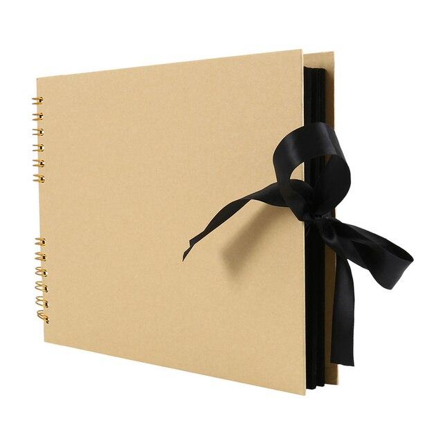ภาพสีดำอัลบั้มสมุดภาพสำหรับ Photoalbum กระดาษหัตถกรรม DIY Scrapbooking งานแต่งงานภาพรูปภาพผู้ถือของขวัญครบรอบ 80 หน้า