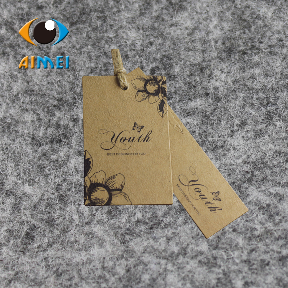 Customize 400gsm brown paper hang tag forclothing swing garment tags Kraft Paper hang tags Swing Price