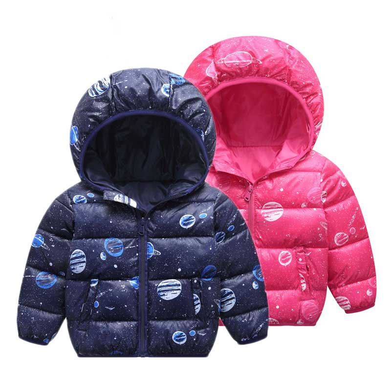 2-6T Space Print Baby Boys Girls Down Coats 2018 Winter Snow Wear Hooded Childrens' Jacket Outerwear & Coats