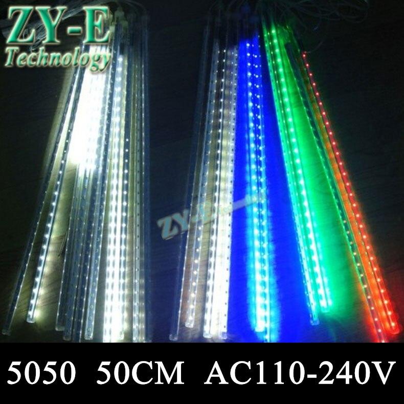 10 pièces/ensemble SMD5050 72leds/tube de Neige Tube 50 cm lumière de Météore Pluie lampe Led Tube Lumière + Adaptateur secteur AC110-240V Livraison Gratuite