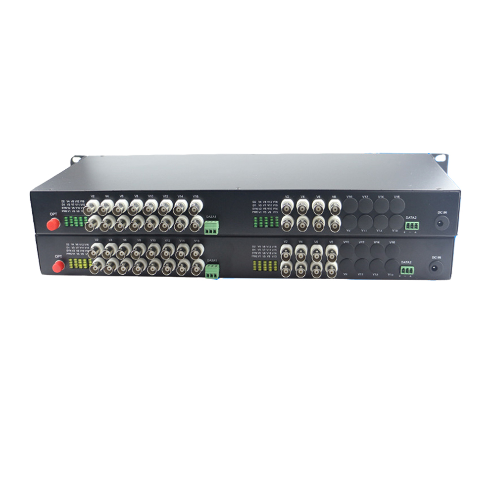24 CH Video Fiber Optical Media Converters -24 BNC Transmitter Receiver RS485 Data Single mode 20Km For CCTV Surveillance system
