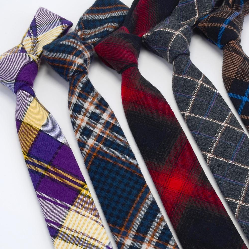 GUSLESON Quality Cotton Slim Tie Fashion 6cm Wool Cashmere Ties For Men Wedding Necktie Skinny Plaid Corbatas Party Gravatas