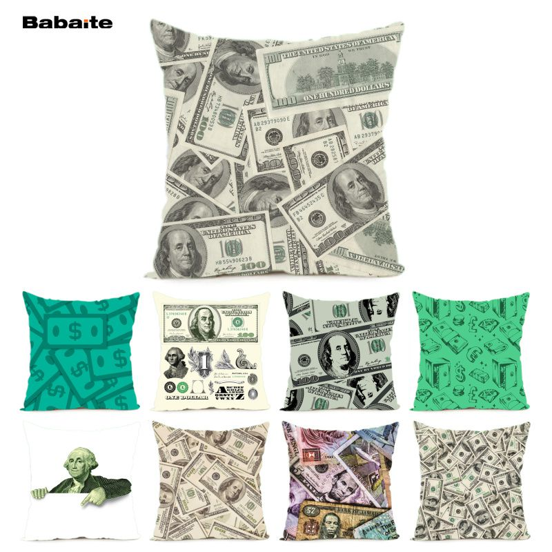Babaite USD Currency Dollar Shabby Chic Cushion Cover Pillowcase Money Throw Cover Cash Printed Decorative Pillow Covers