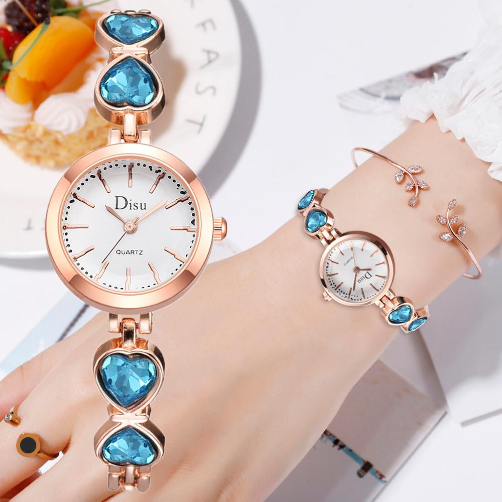 Disu Brand Bracelet Watch Women Small Rose Gold Bangle Bracelet Luxury Watches Casual Dress Ladies Quartz Wristwatch Reloj Mujer
