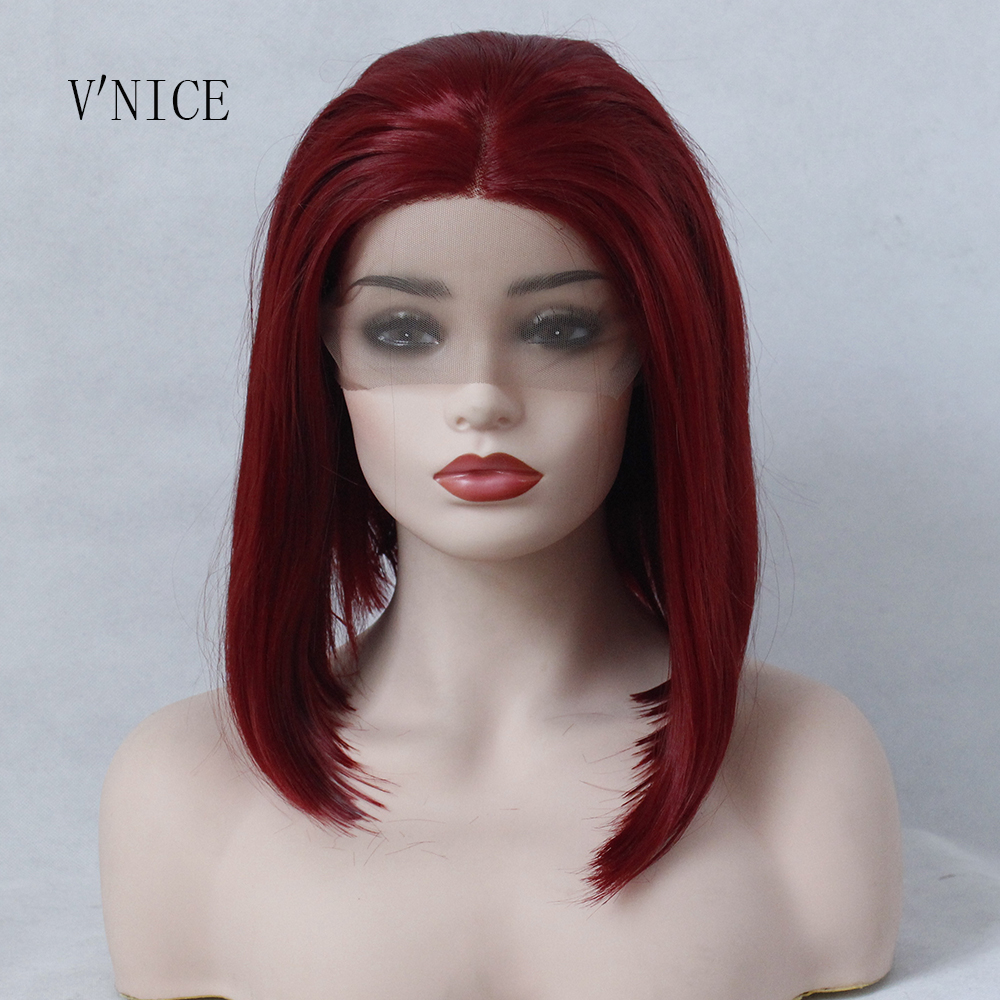 V'NICE Wine Red Short BOB Middle Part Wig Hand Tied Hair Heat Resistant High Temperature Synthetic Lace Front Wig for Women