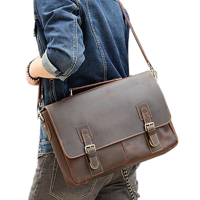 BOLEKE خمر مجنون الحصان جلد أصلي للرجال حقيبة ساع الأعمال وثيقة أكياس الرجعية الذكور حقيبة السببية حقائب-في حقائب جلدية من حقائب وأمتعة على  مجموعة 1