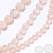 OlingArt 3/4/6/8/10mm Round Glass Beads Rondelle Austria faceted  crystal Champagne Silver color Loose bead DIY Jewelry Making