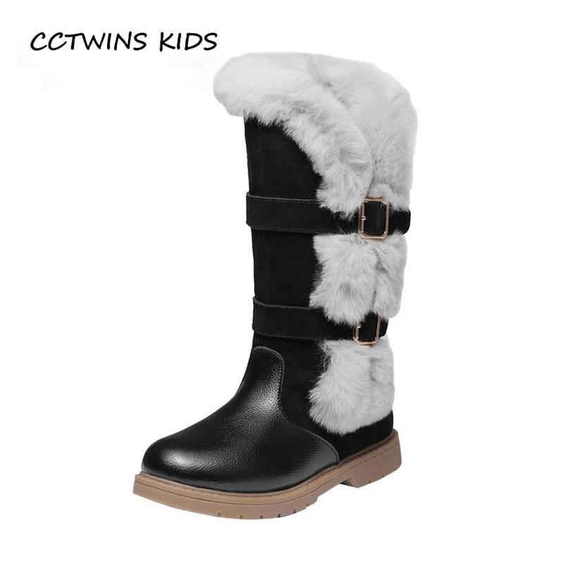 CCTWINS niños 2018 de invierno bebé niña marca cálido bota de nieve niños zapatos de cuero genuino bebé rodilla alta bota CS1510