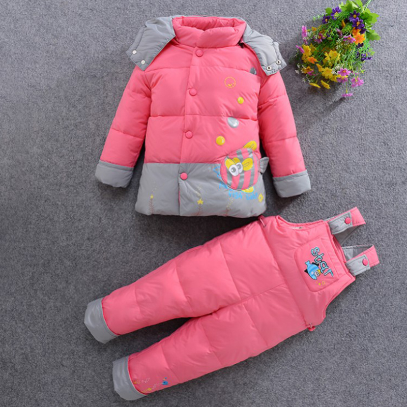 Winter warm down jacket suit set thick coat+jumpsuit baby clothes set kids jacket animal Horse cartoon baby Children boys girls baby down coat set winter warm thick hooded jackets outerwear cartoon down jacket set for boys girls clothes set