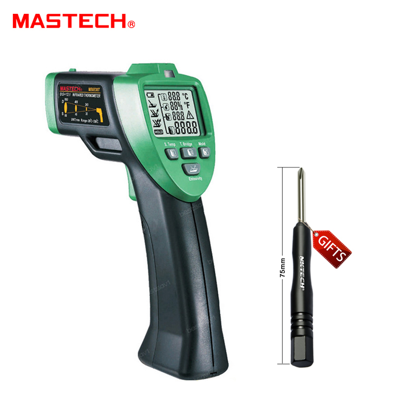 MASTECH MS6530T 12:1 Digital Non-contact Infrared Thermometer Tester IR Laser Temperature Gun Meter Thermostat -20C~350C t010 new digital temperature meter tester mastech ms6520a laser pointer non contact infrared ir thermometer free shipping