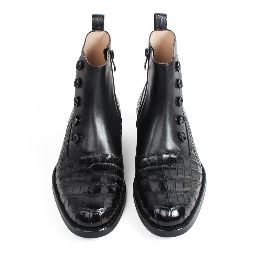Veau Main Automne Rond Chaussures Vikeduo 2019 Bout Bureau Cuir À Noir De Moto Nouvelle Botas En Hommes Sur Black Bottes Cheville Noires Mesure La 3jq45ALR