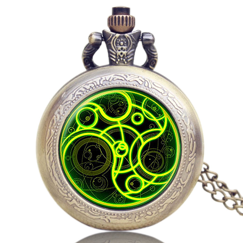 YISUYA Men Women Gift Doctor Who Steampunk Necklace Vintage Retro Quartz Pocket Watch Bronze Long Pendant Chain