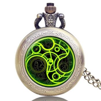 YISUYA Men Women Gift Doctor Who Steampunk Necklace Vintage Retro Quartz Pocket Watch Bronze Long Pendant Chain bronze night owl necklace pendant quartz steampunk pocket watch chain for men women p27