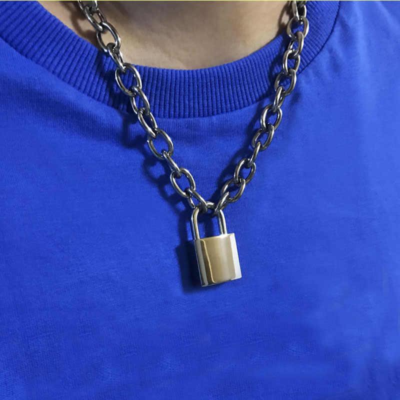 Ręcznie robiony mężczyzna kobiet Unisex łańcuszek ciężki kwadratowy kłódka Choker metalowy kołnierz