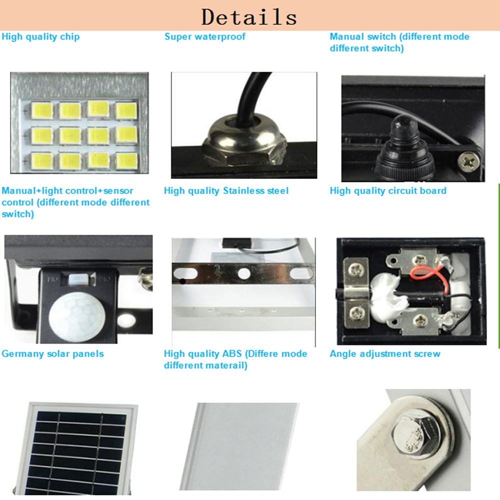High Power LED Solar Lamp Solar Light Outdoor Waterproof Wall Lamp Security Spot Lighting IP65 Remote Control Solar Wall Lamps - 4