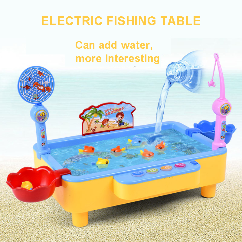 Fishing Toy Set Electric Fishing Game With Music Children Boy Girl Magnetic Fish Play Water Baby Toys Gift