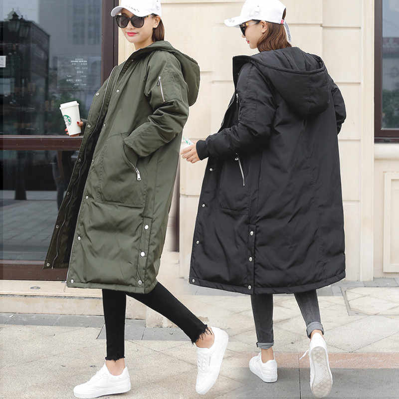 2019 NEW Korean Cotton Warm Overcoat Women's Clothes Autumn Winter Jackets Casual Hooded Parkas Coats Outerwear x412