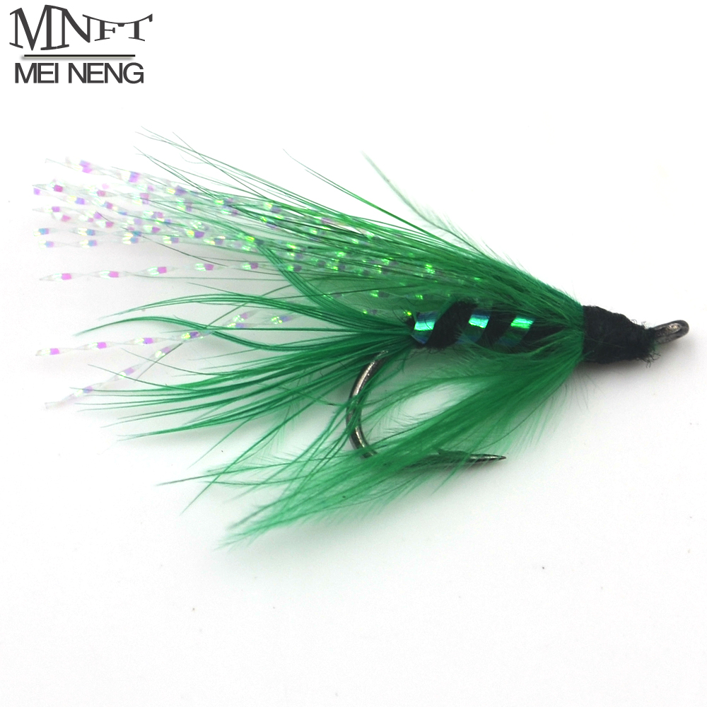 Mnft 10pcs 6 green flash streamer fly trout fishing flies for Fly fishing bait