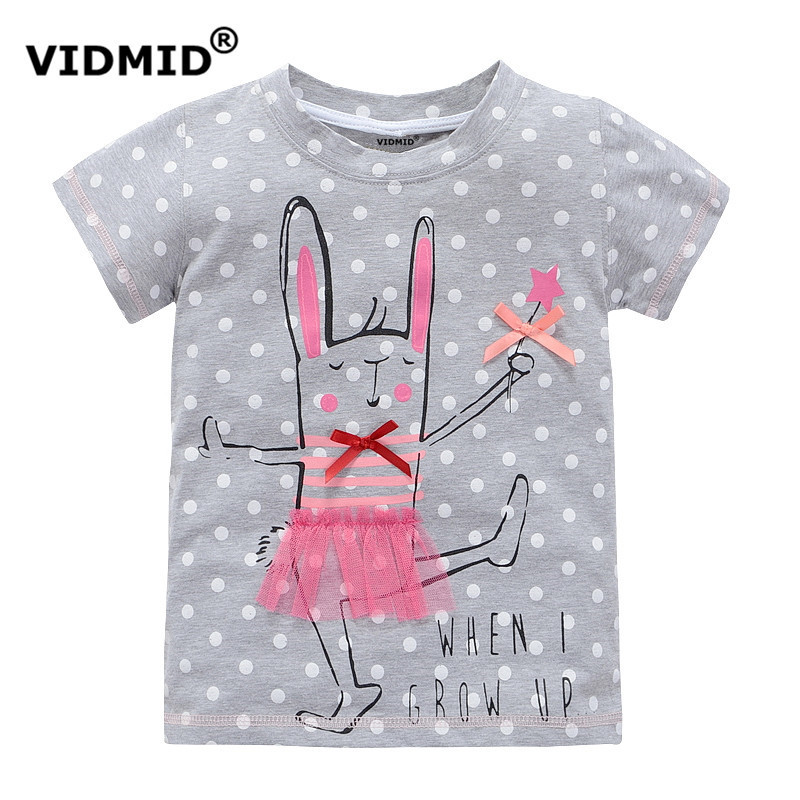 VIDMID 2-10 years baby Girl t-shirt big Girls tee shirts for children girl blouse sale t shirt 100% cotton kids summer clothes new 2017 cotton little girls shirt off the shoulder white t shirt kids top children clothes tolder clothing kids summer blouse
