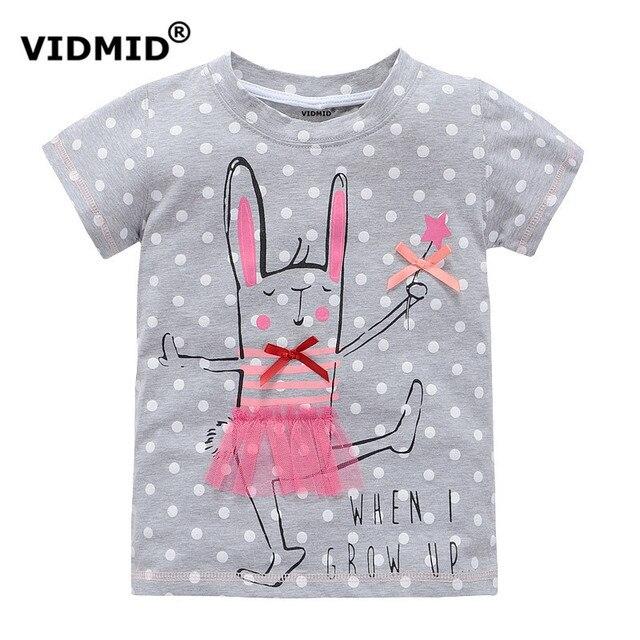 Vidmid 2-10 лет девочка футболка большой девушки тройники рубашки дети блузка большая распродажа супер качество 100% хлопок лета малышей одежда
