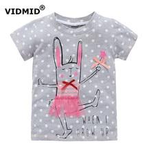 Vidmid/От 2 до 10 лет для маленьких девочек Футболка Большой Обувь для девочек футболки для детей Блуза для девочек распродажа Футболка 100% хлопок Детская летняя одежда