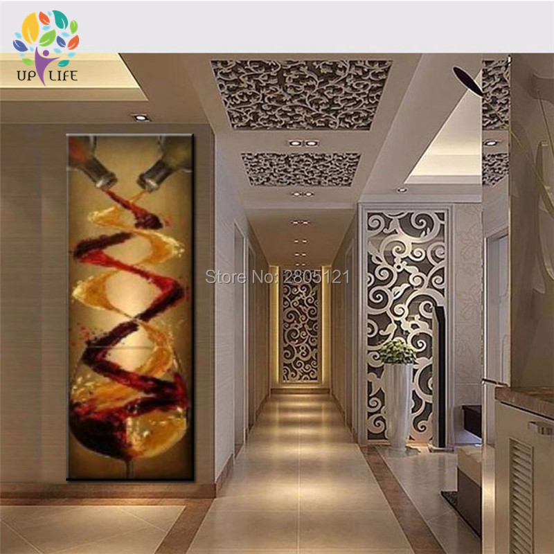 Hand Made Designed Home Wall Decor Canvas Picture Large Long Vertical Vintage Art Wine Decoration Stair Way In Painting Calligraphy